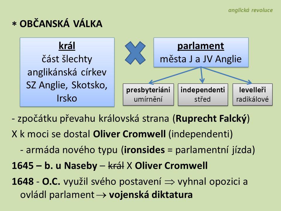  OBČANSKÁ VÁLKA - zpočátku převahu královská strana (Ruprecht Falcký) X k moci se dostal Oliver Cromwell (independenti) - armáda nového typu (ironsid