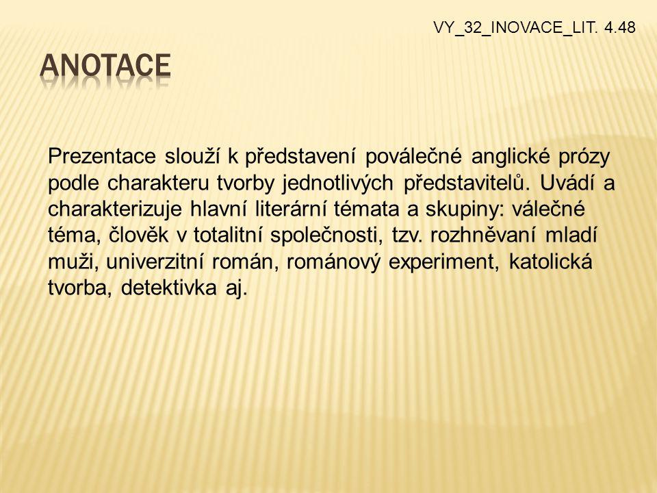 VY_32_INOVACE_LIT. 4.48 Prezentace slouží k představení poválečné anglické prózy podle charakteru tvorby jednotlivých představitelů. Uvádí a charakter