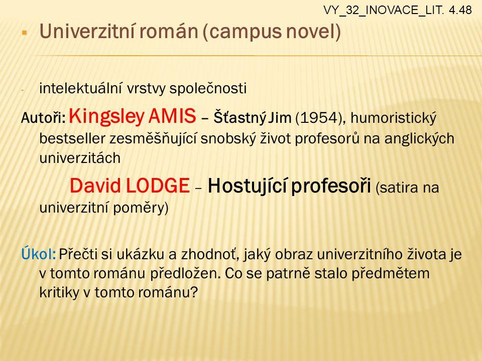  Univerzitní román (campus novel) - intelektuální vrstvy společnosti Autoři: Kingsley AMIS – Šťastný Jim (1954), humoristický bestseller zesměšňující