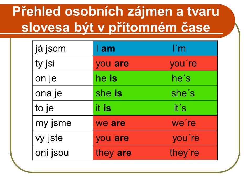 STAVBA VĚTY Každá věta v angličtině musí mít podmět Tam, kde v češtině je podmět nevyjádřený, v anglické větě použijeme osobní zájmeno v dané osobě.