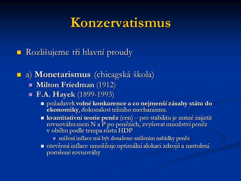 Konzervatismus Rozlišujeme tři hlavní proudy Rozlišujeme tři hlavní proudy a) Monetarismus (chicagská škola) a) Monetarismus (chicagská škola) Milton