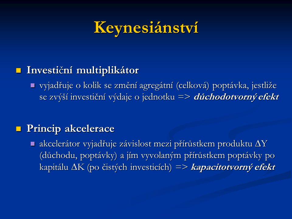Keynesiánství Investiční multiplikátor Investiční multiplikátor vyjadřuje o kolik se změní agregátní (celková) poptávka, jestliže se zvýší investiční