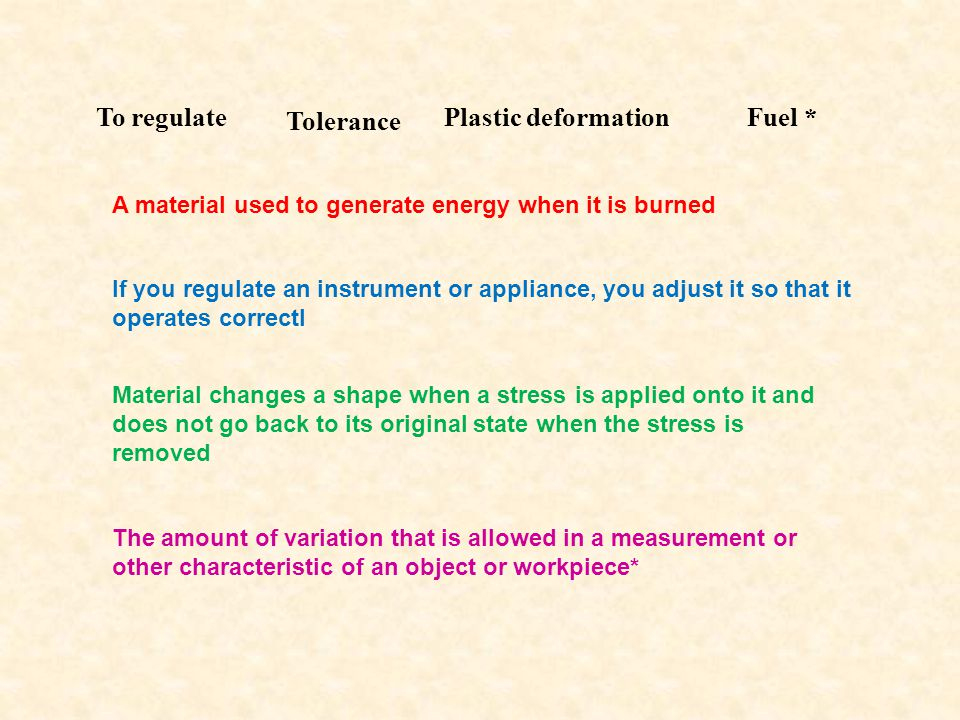To regulate Tolerance A material used to generate energy when it is burned Plastic deformationFuel * If you regulate an instrument or appliance, you adjust it so that it operates correctl Material changes a shape when a stress is applied onto it and does not go back to its original state when the stress is removed The amount of variation that is allowed in a measurement or other characteristic of an object or workpiece*