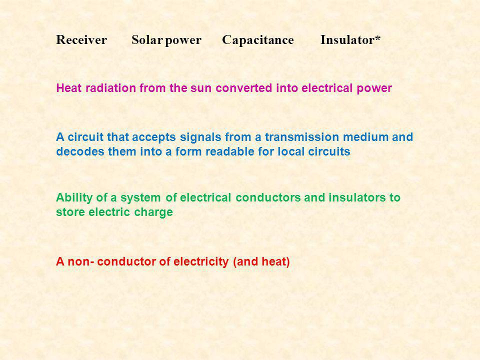 Receiver Heat radiation from the sun converted into electrical power Solar powerCapacitanceInsulator* A circuit that accepts signals from a transmission medium and decodes them into a form readable for local circuits Ability of a system of electrical conductors and insulators to store electric charge A non- conductor of electricity (and heat)