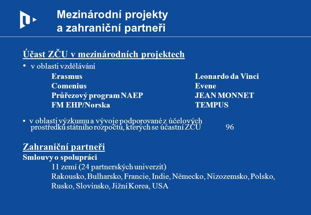 Mezinárodní projekty a zahraniční partneři Účast ZČU v mezinárodních projektech v oblasti vzdělávání ErasmusLeonardo da Vinci ComeniusEvene Průřezový