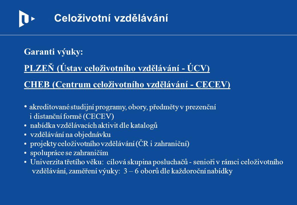 Celoživotní vzdělávání Garanti výuky: PLZEŇ (Ústav celoživotního vzdělávání - ÚCV) CHEB (Centrum celoživotního vzdělávání - CECEV) akreditované studij