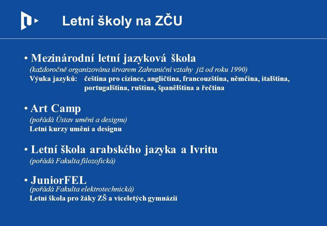 Letní školy na ZČU Mezinárodní letní jazyková škola (každoročně organizována útvarem Zahraniční vztahy již od roku 1990) Výuka jazyků:čeština pro cizi