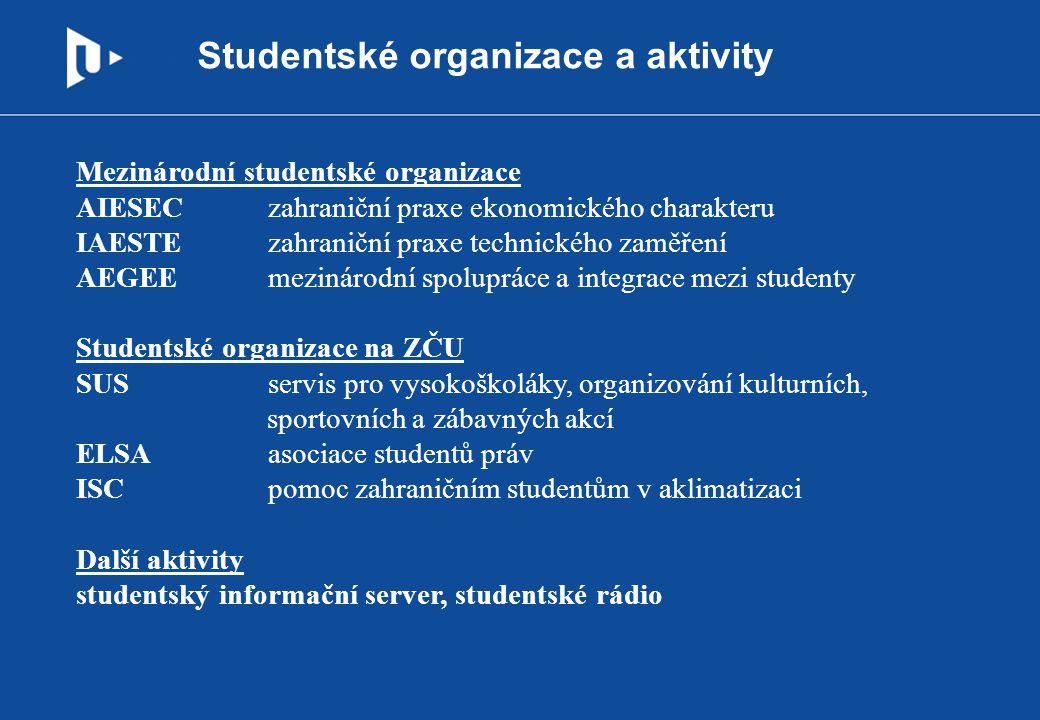Studentské organizace a aktivity Mezinárodní studentské organizace AIESEC zahraniční praxe ekonomického charakteru IAESTE zahraniční praxe technického