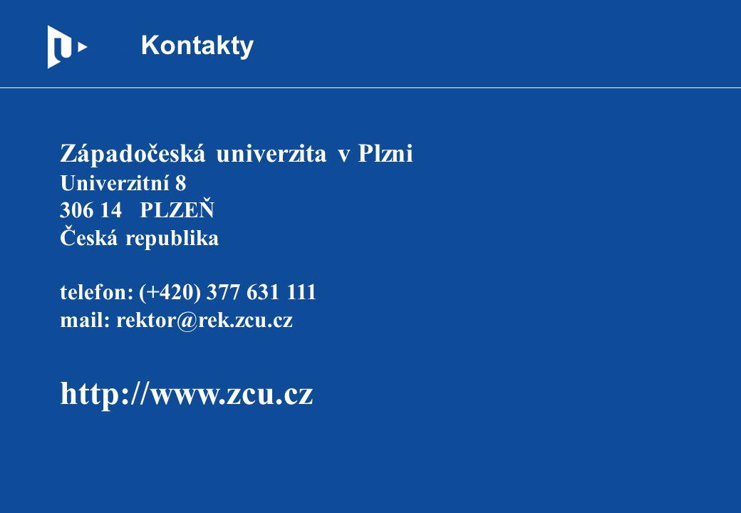 Kontakty Západočeská univerzita v Plzni Univerzitní 8 306 14 PLZEŇ Česká republika telefon: (+420) 377 631 111 mail: rektor@rek.zcu.cz http://www.zcu.