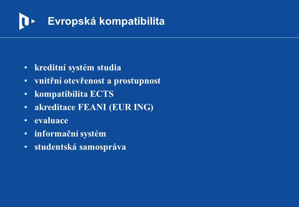 Evropská kompatibilita kreditní systém studia vnitřní otevřenost a prostupnost kompatibilita ECTS akreditace FEANI (EUR ING) evaluace informační systé