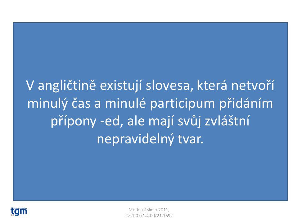 V angličtině existují slovesa, která netvoří minulý čas a minulé participum přidáním přípony -ed, ale mají svůj zvláštní nepravidelný tvar.