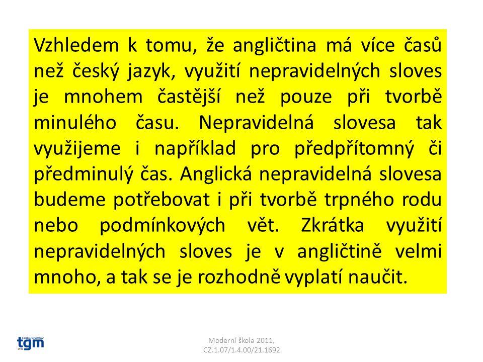 Moderní škola 2011, CZ.1.07/1.4.00/21.1692 Vzhledem k tomu, že angličtina má více časů než český jazyk, využití nepravidelných sloves je mnohem častější než pouze při tvorbě minulého času.