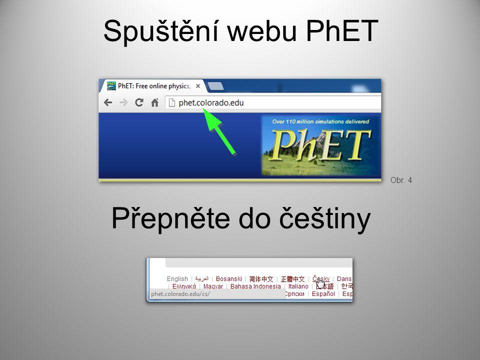 Spuštění webu PhET Přepněte do češtiny Obr. 4