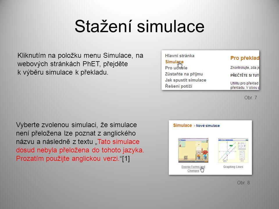 Stažení simulace Kliknutím na položku menu Simulace, na webových stránkách PhET, přejděte k výběru simulace k překladu. Vyberte zvolenou simulaci, že