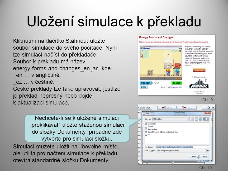 Uložení simulace k překladu Kliknutím na tlačítko Stáhnout uložte soubor simulace do svého počítače.