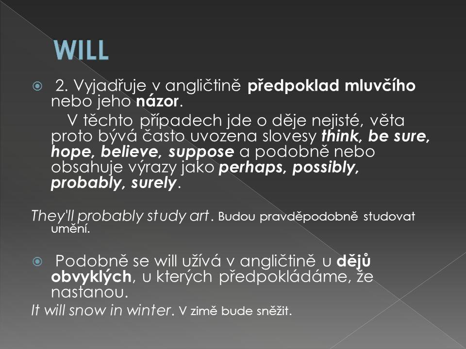  2. Vyjadřuje v angličtině předpoklad mluvčího nebo jeho názor.