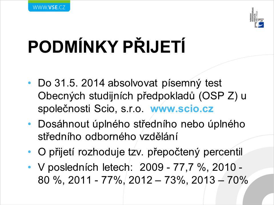 PODMÍNKY PŘIJETÍ Do 31.5. 2014 absolvovat písemný test Obecných studijních předpokladů (OSP Z) u společnosti Scio, s.r.o. www.scio.cz Dosáhnout úplnéh