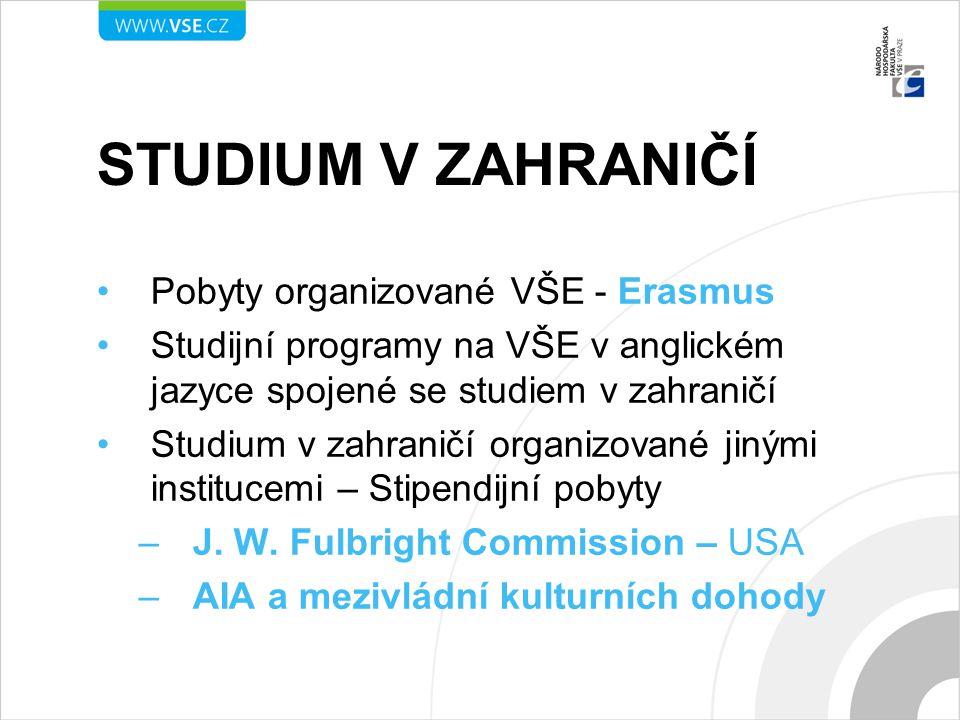 STUDIUM V ZAHRANIČÍ Pobyty organizované VŠE - Erasmus Studijní programy na VŠE v anglickém jazyce spojené se studiem v zahraničí Studium v zahraničí o