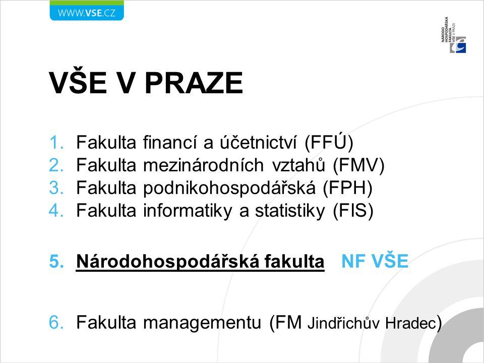 VŠE V PRAZE 1.Fakulta financí a účetnictví (FFÚ) 2.Fakulta mezinárodních vztahů (FMV) 3.Fakulta podnikohospodářská (FPH) 4.Fakulta informatiky a stati
