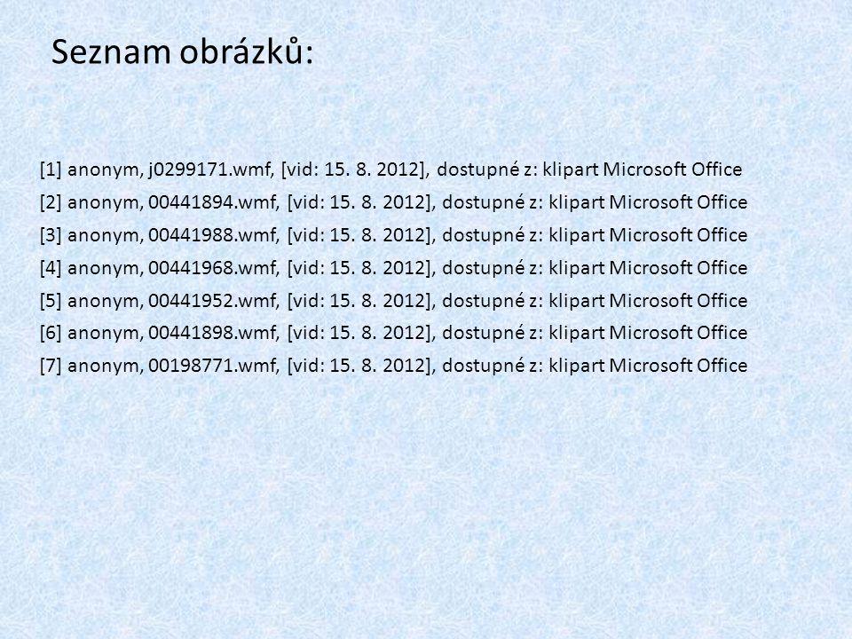 Seznam obrázků: [1] anonym, j0299171.wmf, [vid: 15. 8. 2012], dostupné z: klipart Microsoft Office [2] anonym, 00441894.wmf, [vid: 15. 8. 2012], dostu
