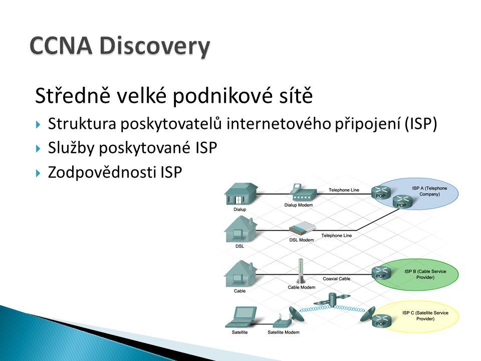 Středně velké podnikové sítě  Struktura poskytovatelů internetového připojení (ISP)  Služby poskytované ISP  Zodpovědnosti ISP