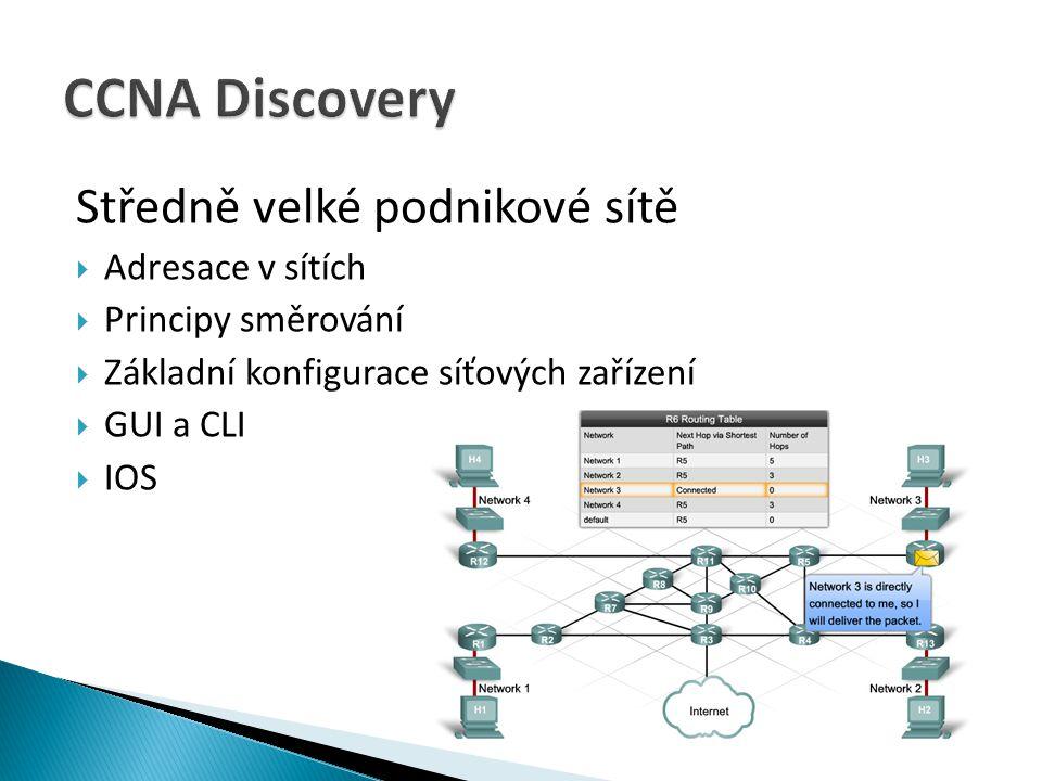 Středně velké podnikové sítě  Adresace v sítích  Principy směrování  Základní konfigurace síťových zařízení  GUI a CLI  IOS