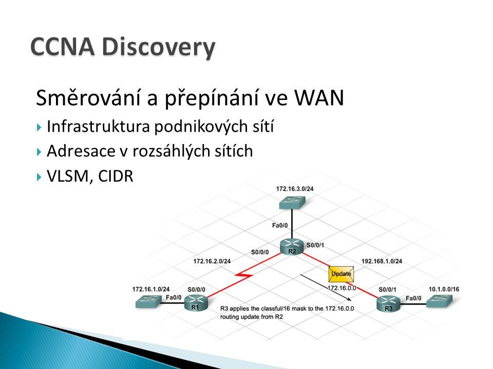 Směrování a přepínání ve WAN  Infrastruktura podnikových sítí  Adresace v rozsáhlých sítích  VLSM, CIDR