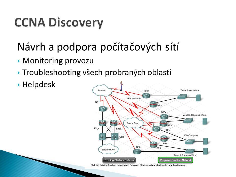 Návrh a podpora počítačových sítí  Monitoring provozu  Troubleshooting všech probraných oblastí  Helpdesk
