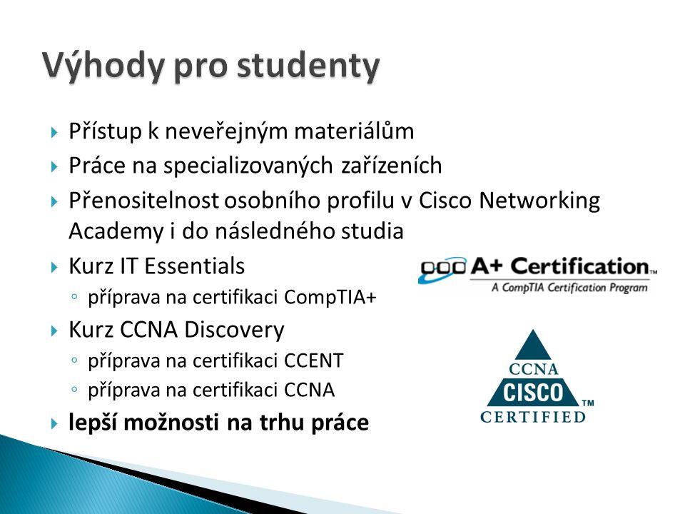  Přístup k neveřejným materiálům  Práce na specializovaných zařízeních  Přenositelnost osobního profilu v Cisco Networking Academy i do následného
