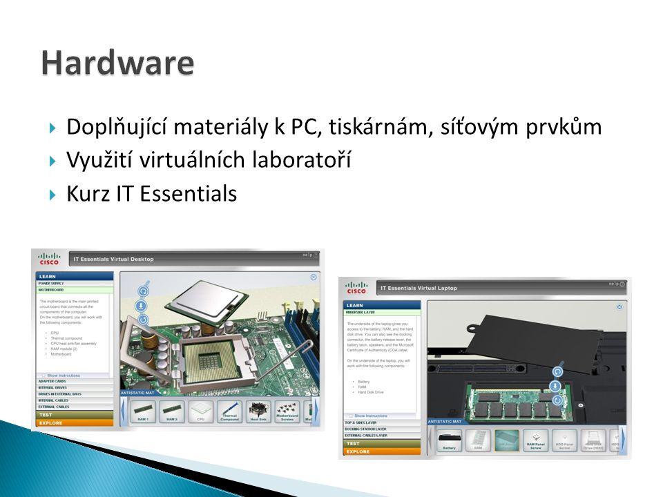  Doplňující materiály k PC, tiskárnám, síťovým prvkům  Využití virtuálních laboratoří  Kurz IT Essentials