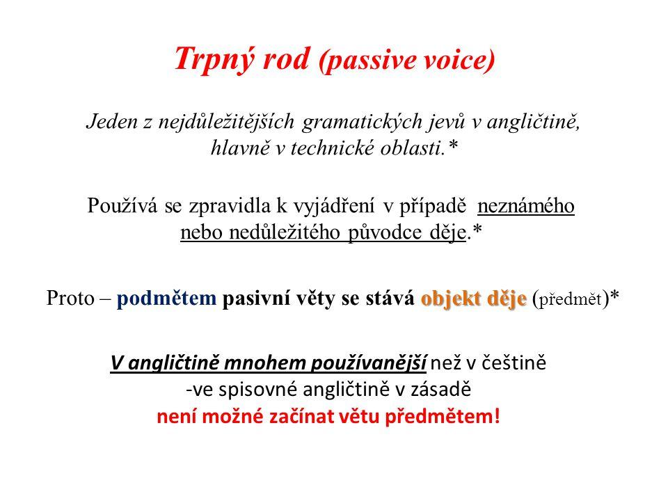 Trpný rod (passive voice) Jeden z nejdůležitějších gramatických jevů v angličtině, hlavně v technické oblasti.* Používá se zpravidla k vyjádření v pří