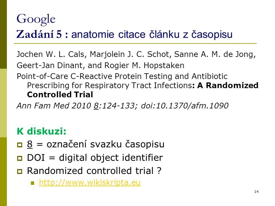 Google Zadání 5 : anatomie citace článku z časopisu Jochen W. L. Cals, Marjolein J. C. Schot, Sanne A. M. de Jong, Geert-Jan Dinant, and Rogier M. Hop