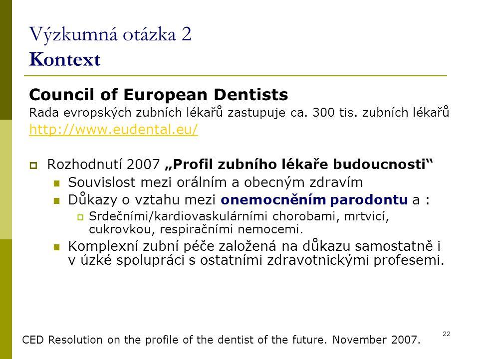 22 Výzkumná otázka 2 Kontext Council of European Dentists Rada evropských zubních lékařů zastupuje ca. 300 tis. zubních lékařů http://www.eudental.eu/