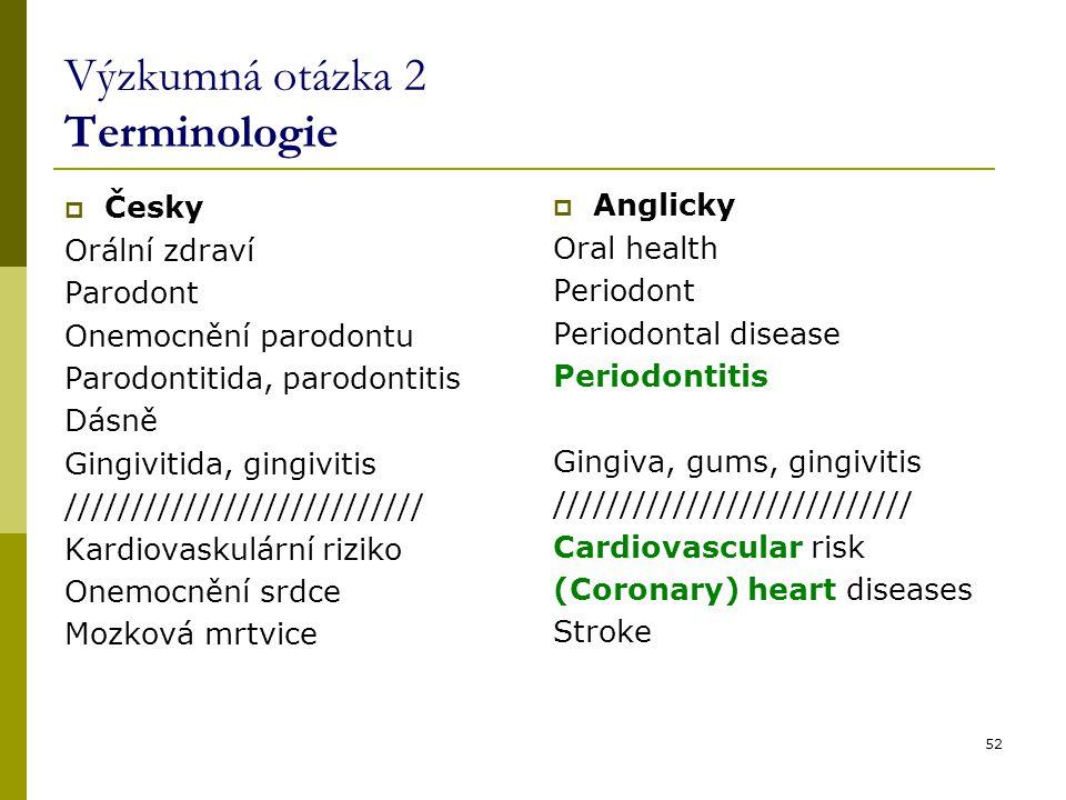 52 Výzkumná otázka 2 Terminologie  Česky Orální zdraví Parodont Onemocnění parodontu Parodontitida, parodontitis Dásně Gingivitida, gingivitis /////////////////////////// Kardiovaskulární riziko Onemocnění srdce Mozková mrtvice  Anglicky Oral health Periodont Periodontal disease Periodontitis Gingiva, gums, gingivitis /////////////////////////// Cardiovascular risk (Coronary) heart diseases Stroke