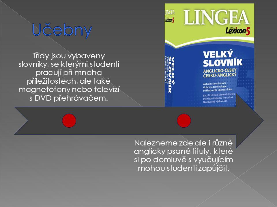 Třídy jsou vybaveny slovníky, se kterými studenti pracují při mnoha příležitostech, ale také magnetofony nebo televizí s DVD přehrávačem. Nalezneme zd