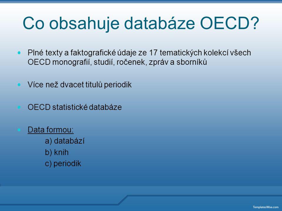 Rozdělení OECD do částí I.