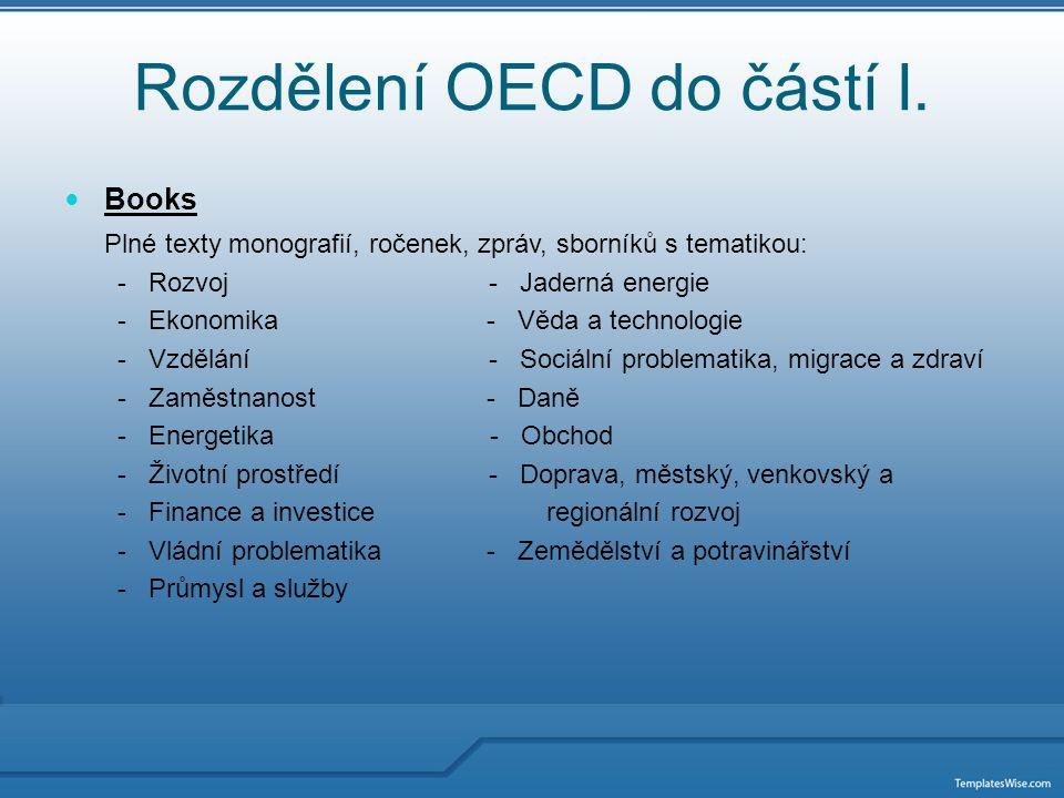 Rozdělení OECD do částí II.