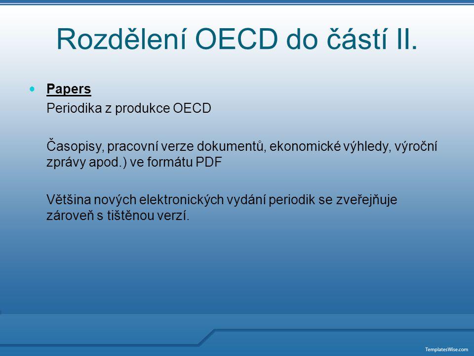 Rozdělení OECD do částí III.
