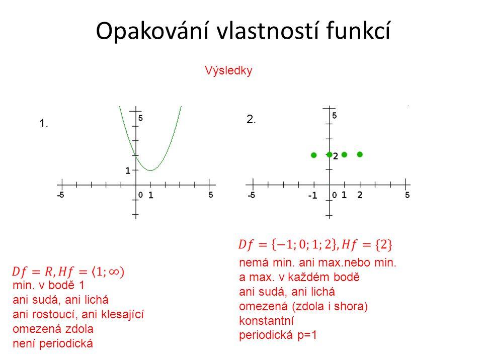 Opakování vlastností funkcí 1. 2. min.
