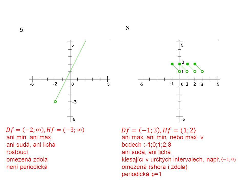 5. 6. ani min. ani max. ani sudá, ani lichá rostoucí omezená zdola není periodická ani max.