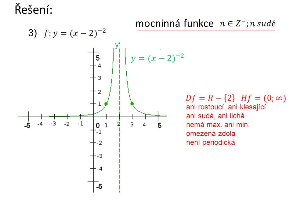 mocninná funkce Řešení: ani rostoucí, ani klesající ani sudá, ani lichá nemá max. ani min. omezená zdola není periodická 3) y'