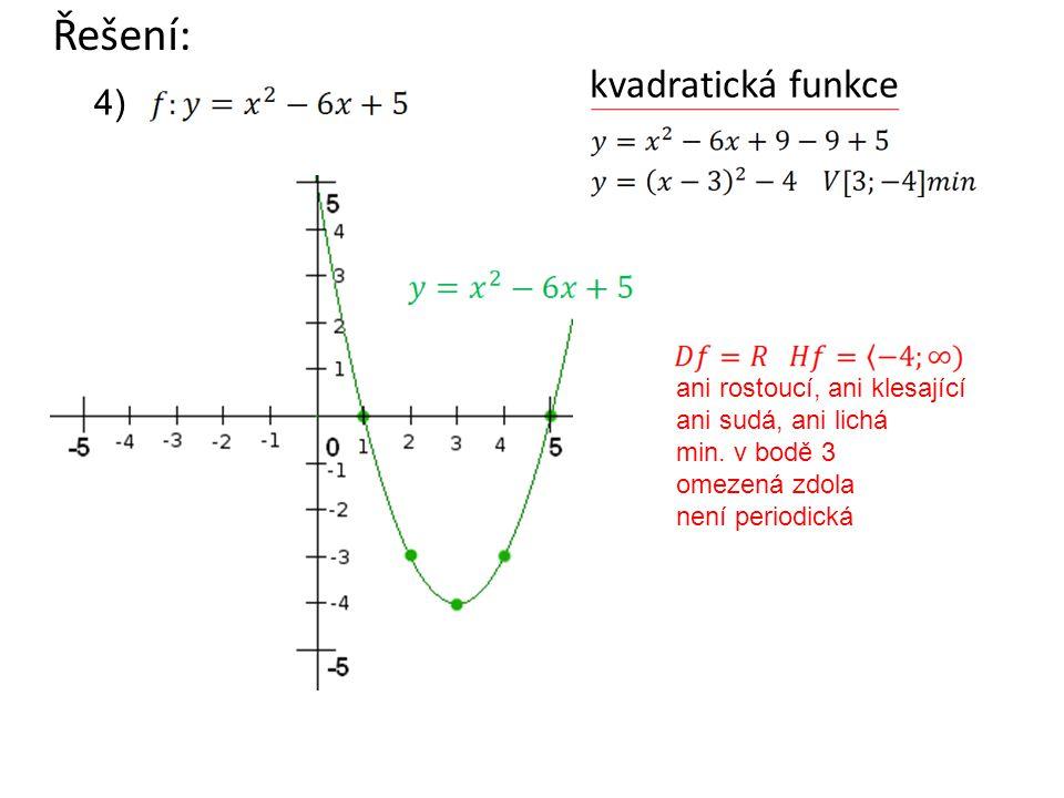 kvadratická funkce Řešení: ani rostoucí, ani klesající ani sudá, ani lichá min. v bodě 3 omezená zdola není periodická 4)