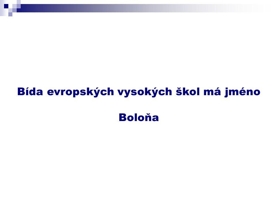 Bída evropských vysokých škol má jméno Boloňa