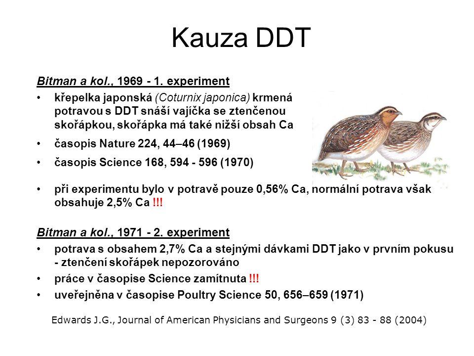 Kauza DDT Bitman a kol., 1969 - 1. experiment křepelka japonská (Coturnix japonica) krmená potravou s DDT snáší vajíčka se ztenčenou skořápkou, skořáp