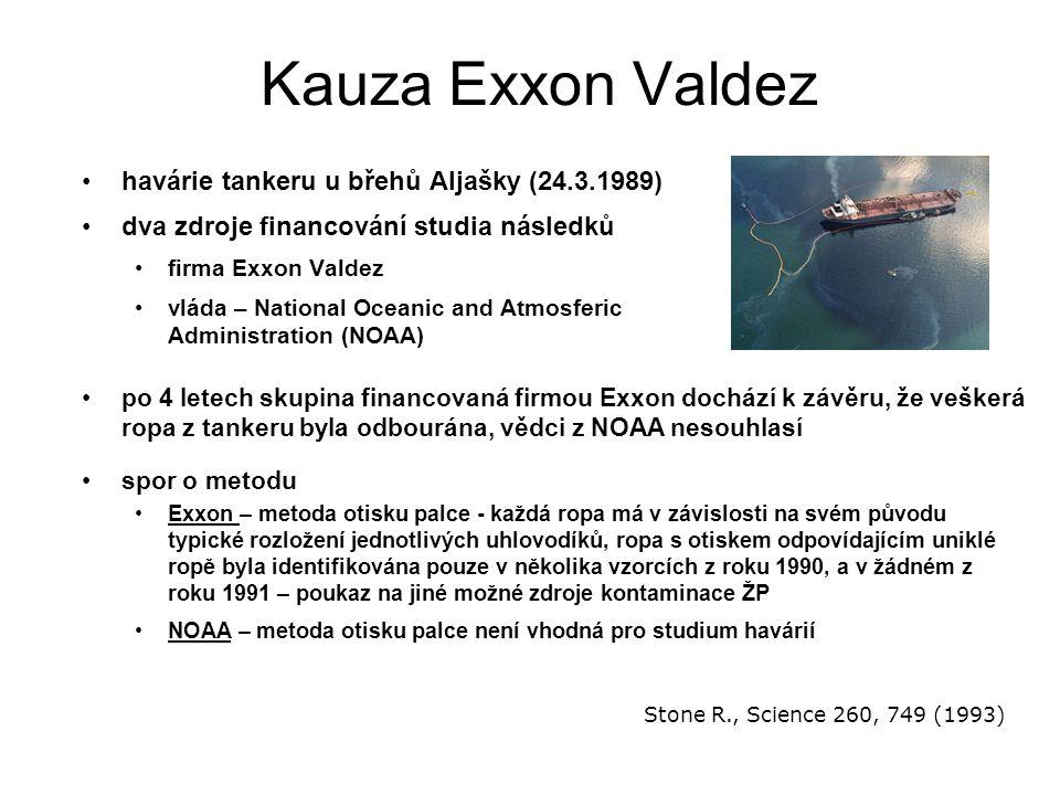 Kauza Exxon Valdez havárie tankeru u břehů Aljašky (24.3.1989) dva zdroje financování studia následků firma Exxon Valdez vláda – National Oceanic and