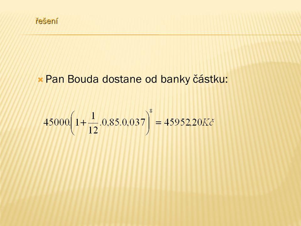 řešení  Pan Bouda dostane od banky částku: