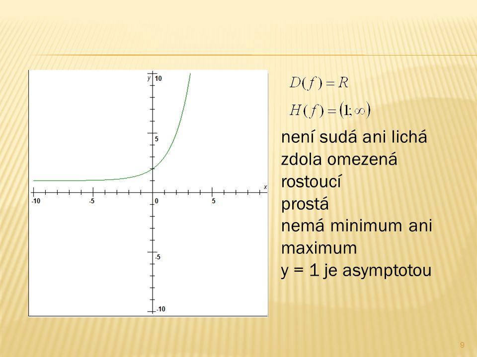 9 není sudá ani lichá zdola omezená rostoucí prostá nemá minimum ani maximum y = 1 je asymptotou