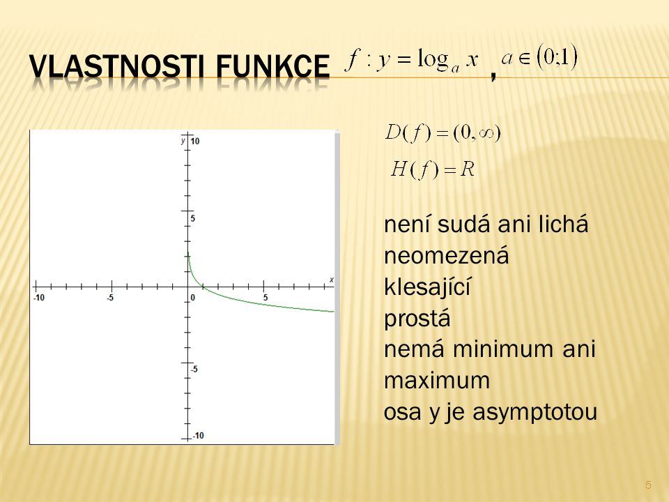 5 není sudá ani lichá neomezená klesající prostá nemá minimum ani maximum osa y je asymptotou