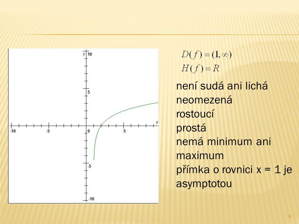 9 není sudá ani lichá neomezená rostoucí prostá nemá minimum ani maximum přímka o rovnici x = 1 je asymptotou