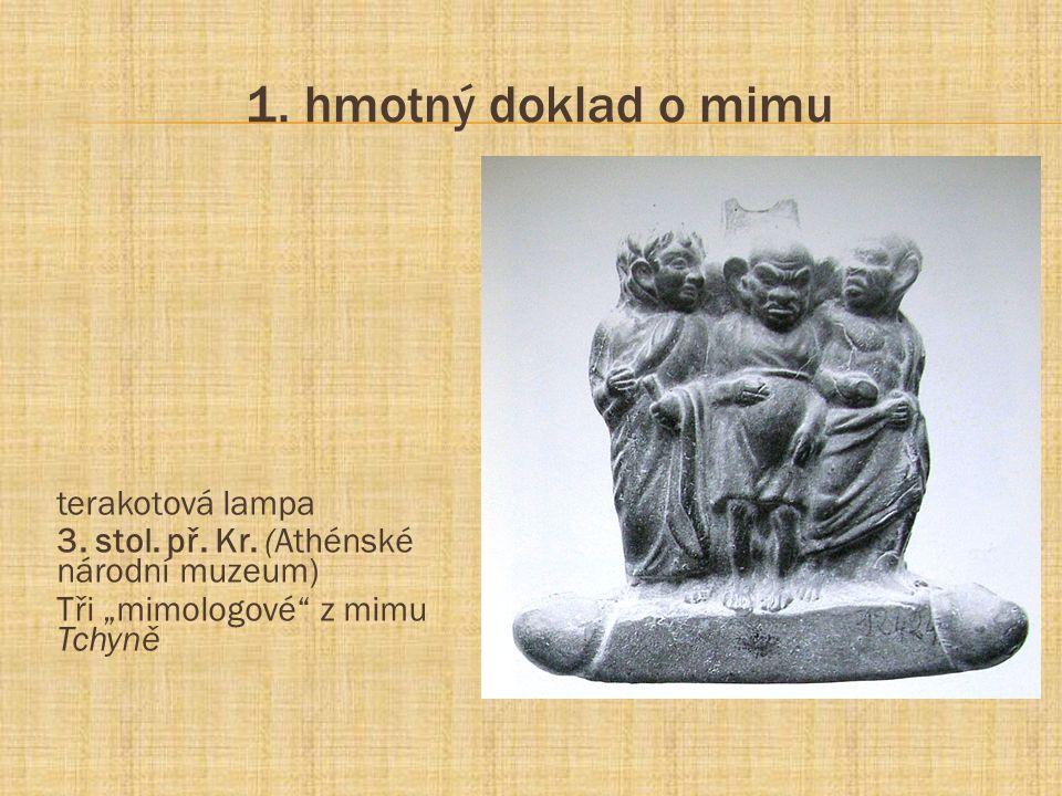 """1. hmotný doklad o mimu terakotová lampa 3. stol. př. Kr. (Athénské národní muzeum) Tři """"mimologové"""" z mimu Tchyně"""